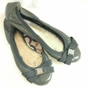 """Coach Gray Patent Leather Ballet Flats """"Dwyer"""""""